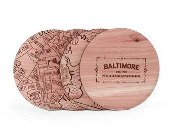 Baltimore Map Coaster Set