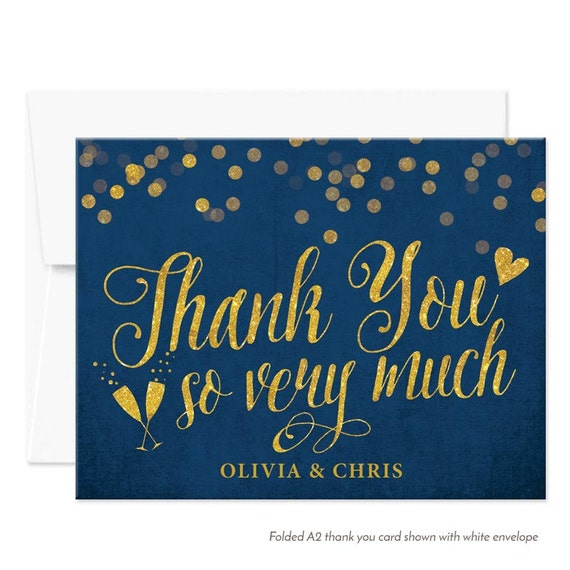 Personalized Printed Thank You Cards Navy Gold Thank You Cards