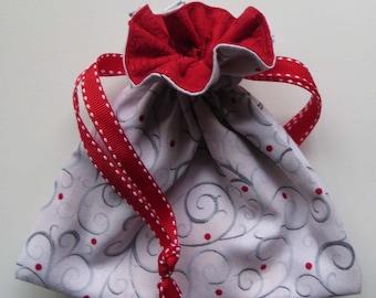 Christmas Lined Drawstring Fabric Gift Bag
