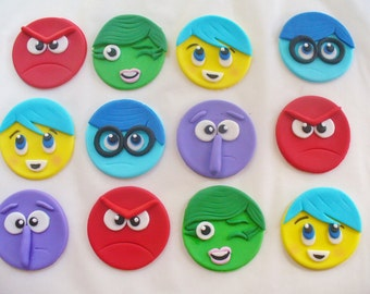 12 INSIDE OUT Edible Fondant Cupcake Toppers