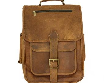 Vintage Handmade Genuine Brown Leather Backpack
