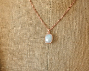Moonstone Rose Gold Charm Necklace, Faceted Moonstone Necklace, Bezel Set Moonstone, Square Moonstone Charm, Dainty, Delicate Necklace.