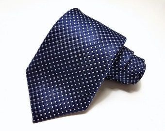 Silk Tie in Pin Dots of White on Navy
