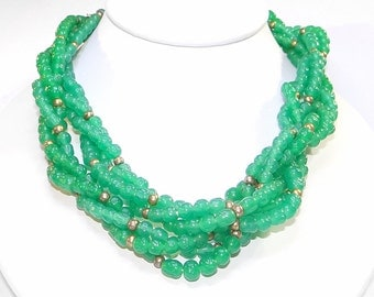 Multi-strand Green Necklace - Vintage Torsade Style - Dimpled Green Glass Beads