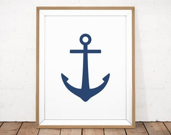 Anchor Printable, Navy Printable, Navy Nautical Art, Navy Anchor, Nautical Wall Art, Navy Sailor Print, Navy Nursery Art, Navy Boy Nursery