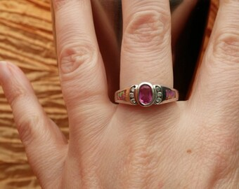 Fire Opal, Garnet and CZ Sterling Ring Size 8