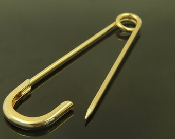 Pin pendant, T10-G1, 1 pcs, 116x32mm, 16K gold plated brass, Safety pin pendant, Pin charm