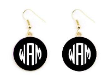 Monogrammed Enamel Earrings