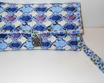 Quilted iPhone Smart Phone Wallet or Wristlet Choice of Fabric with Optional 6 or 10 Credit Card Slots and Checkbook Cover Option