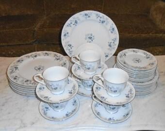 Vintage Baroque Bleu By Daniele Japan Fine China Service for 7 ~ 34pcs total