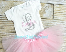 Personalized newborn onesie with tutu pink, monogrammed baby outfit!  Personalized take home outfit, pink and gray newborn outfit