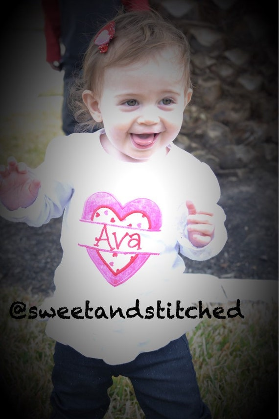 Girls Valentine's shirt personalized, personalized girls Valentine's outfit, Embroidered girls Valentine's Shirt with name