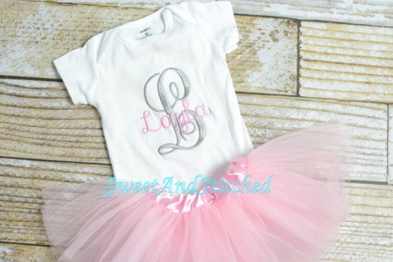 Personalized newborn outfit with tutu pink, monogrammed baby outfit!  Personalized take home outfit, pink and gray newborn outfit