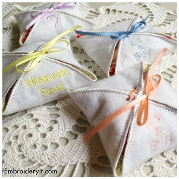 Machine embroidery baby gift box set different