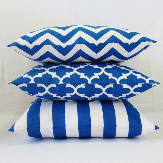 Royal Blue And White Throw Pillows : Cobalt Blue Pillow Cover Royal Blue Geometric Chervron Stripe
