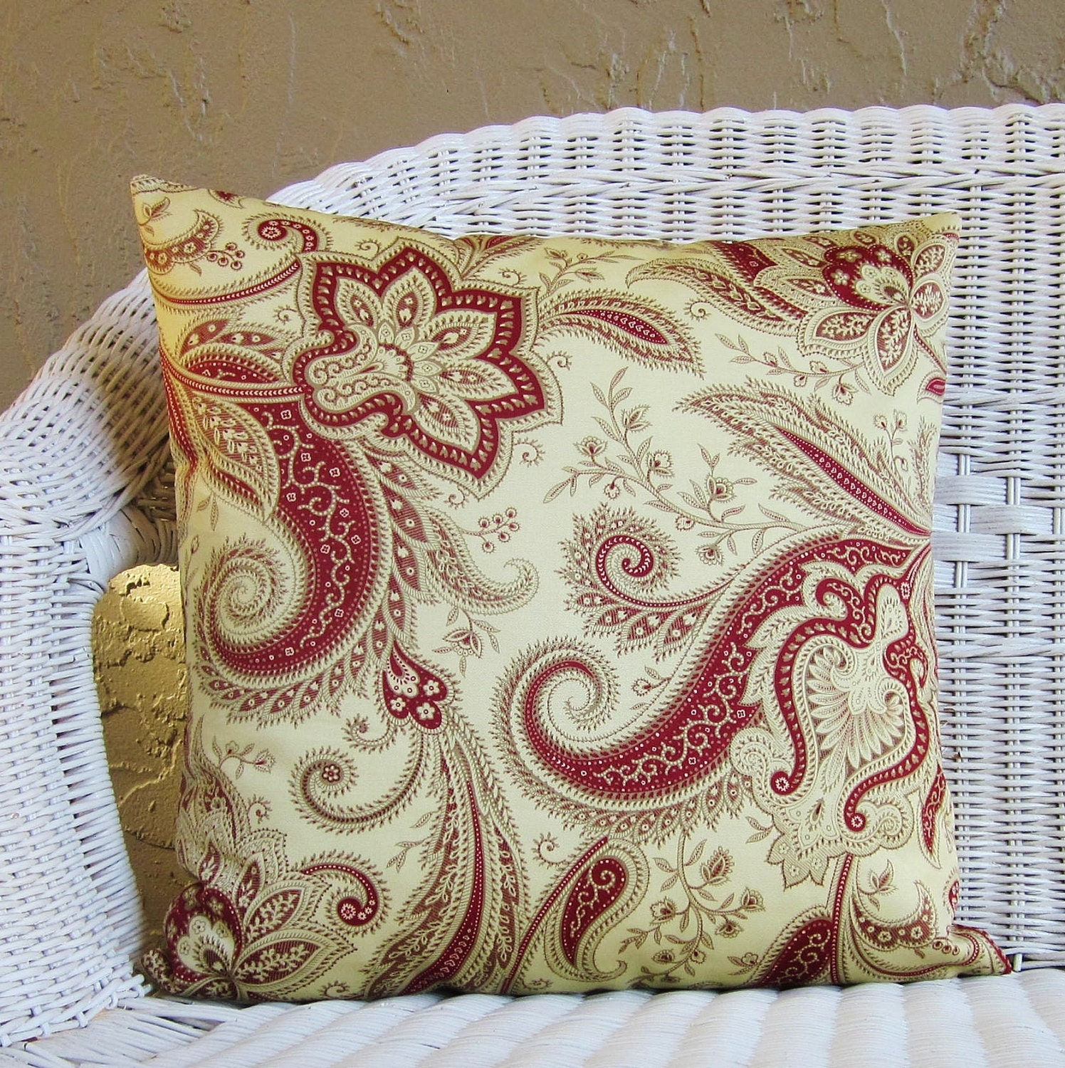 Jacobean Decorative Pillows : Burgundy Crimson Red Jacobean Floral Pillow Cover Decorative