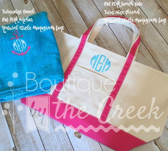 Monogrammed Beach Towel And Bag Set: Items Similar To Monogrammed Beach Bag And Towel Combo