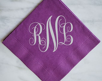 Printed Napkins with Large Monogram, Foil Printed Napkins, Custom Monogrammed Wedding Napkins, Gold Foil Printed Napkins, Bar Napkins