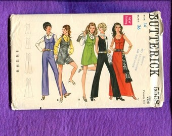 1969 Butterick 5558 Button Front Jumpsuits & Jumpers in Two Lengths with Cell Phone Pockets Size 14