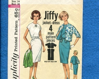 1960's  Simplicity 4897 Jiffy Shift Dress Round Neckline & Extended Shoulders  Reversible Jacket with Dolman Sleeves Size 14 UNCUT