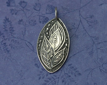 Sterling Silver Leaf Pendant – Sterling Leaf Pendant – Sterling Silver Leaf Charm – Sterling Silver Leaf Jewelry – Sterling Leaf Jewelry