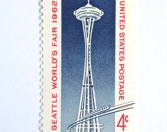 10 Unused Seattle Space Needle Postage Stamps // Seattle Washington 1962 World's Fair // Vintage Seattle Stamps for Mailing