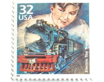 10 Electric Toy Train Postage Stamps // Vintage Toy Locomotive // Postage Stamps for Mailing