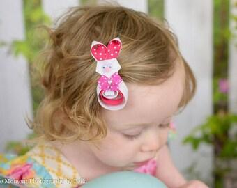 Bunny Ribbon Sculpture Hair Cllip. Bunny Hair  Clip. Easter Bunny Hair Bow