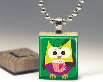 Whimsical Coffee Owl Green Scrabble Tile Pendant Necklace or Key Chain America Made in USA jewelry Owl Necklace Hoots Friends