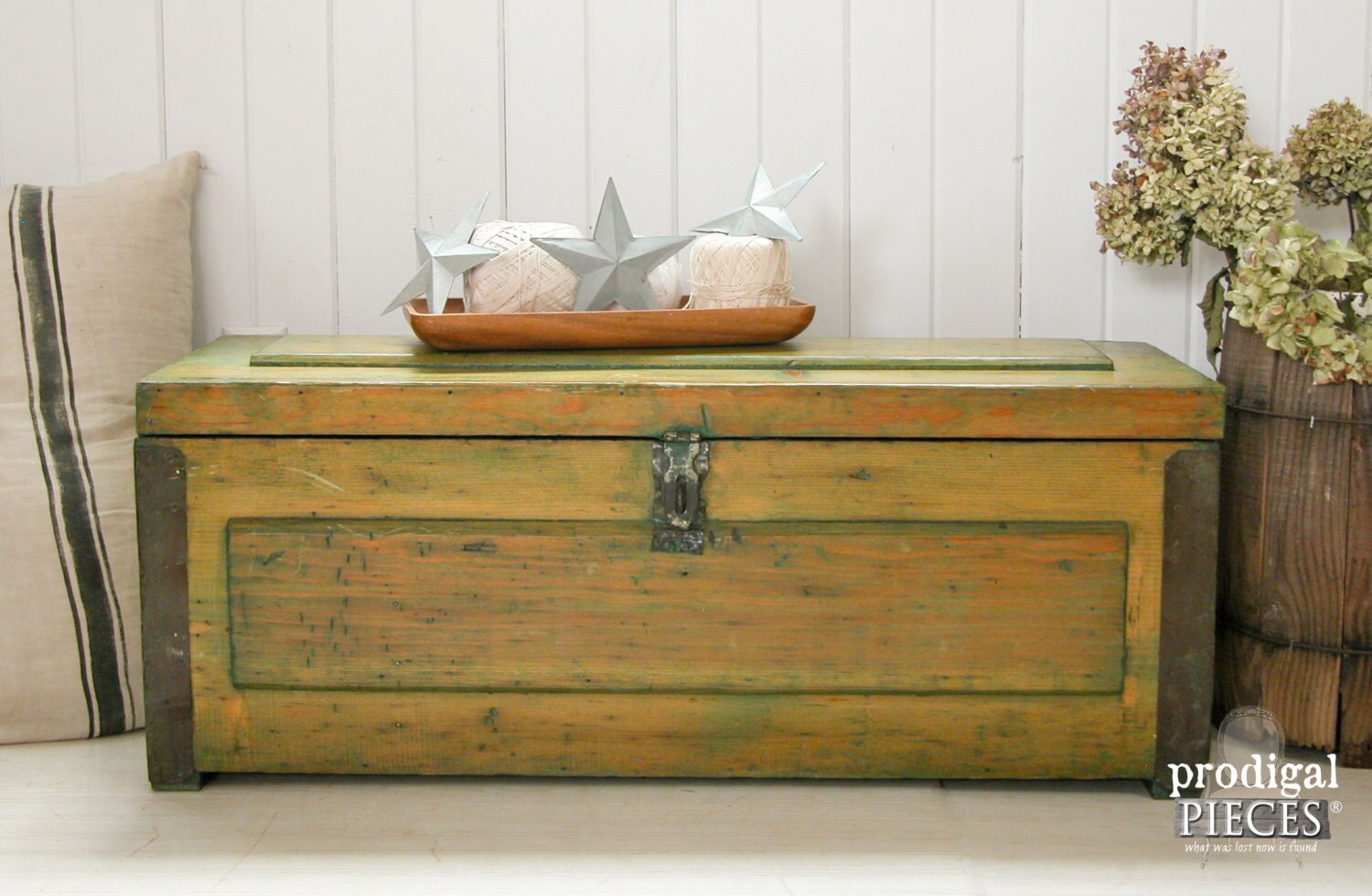Handcrafted distressed green farmhouse storage trunk chest - Trunk style coffee tables ...