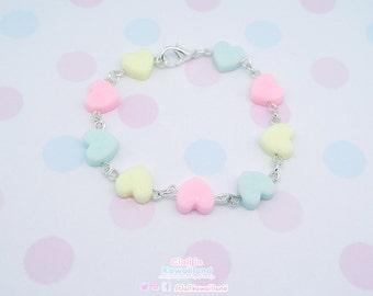 Kawaii hearts bracelet fairy kei, Harajuku kei, Lolita Kei