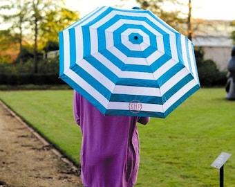 Personalized Umbrella: Aqua Stripes -Pick your Thread Colors/Fonts