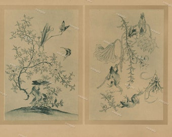Authentic whimsical decorative art lithograph From Humor in the animal world dates 1887 frogs birds insects