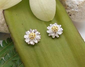 Post Earrings, Sterling Silver Little Daisy Stud Earrings - Flower Earrings, Spring, Daisy, Post Earrings, Stud Earrings, Easter, Mom