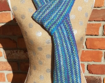 Scarf, Hand Knit, Blue, Purple, Green,White