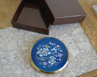 Vintage Blue Floral Mirror Compact - Boots Powder Compact.