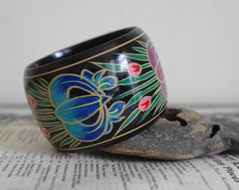 Vintage Chunky Bangle - Folk Art Style Bangle