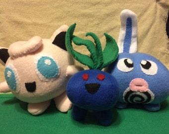 Pokemon plush, custom pokemon, jigglypuff plush, oddish plush, polywag plush.
