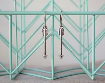 Arrow Earrings - Silver Tribal Arrow Jewelry - Titanium Hook Hypoallergenic Earrings