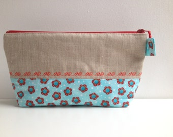 Embroidered cosmetic zipper pouch, red flowers on sky blue toiletry bag, toiletry zipper clutch, natural linen and cotton make up bag