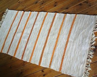 "UNUSED Swedish retro vintage 1980s 27 * 56 ""/ inch HANDMADE handwoven cotton rag rug carpet"