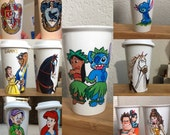 Hand Painted Travel Ceramic Cup : Your Choice of 1 Character