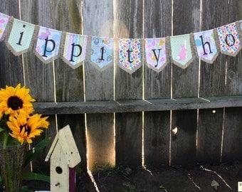 Custom HIPPITY HOP bunting banner flag...Easter, bunny, holiday