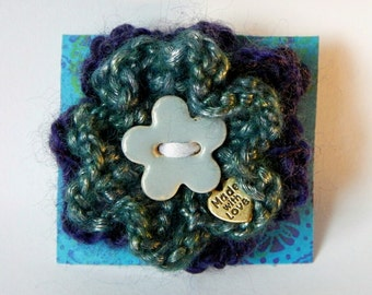 Hand Knitted Green/Navy Blue Flower Brooch