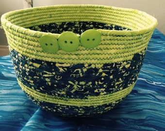 Batik Fabric Coiled Basket, Handmade, 100% Cotton,  Welcome Home Gift, Greens/Varied