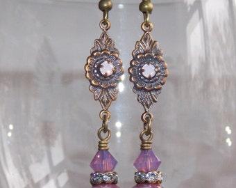 Lilac Drop Earrings, Czech Glass Earrings, Victorian Style Earrings, Boho Earrings, Dangle Earrings, Vintage Earrings, Handmade Earrings