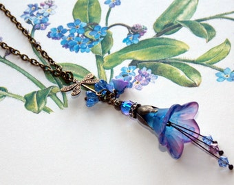 Lucite Flower Necklace,'Forget-me-Not', Victorian Necklace, Necklace, Hand Painted, Blue Flower Necklace, Pendant Necklace, Vintage Style