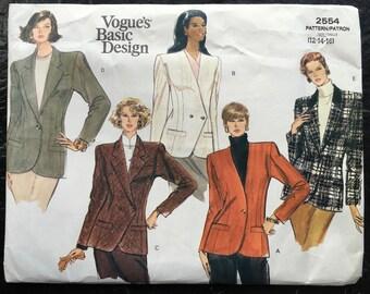 Vintage Vogue's Basic Design Misses' or Misses' Petite Jacket Pattern // # 2554, size 12-14-16, oversized/large envelope