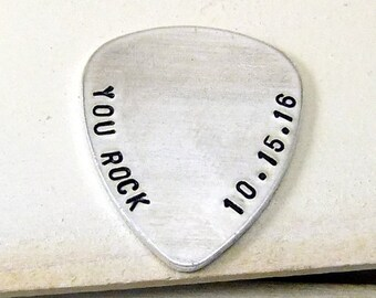 You Rock Hand Stamped Guitar Pick, Custom Stamped Guitar Pick, Personalized Guitar Pick, Anniversary Gift, Boyfriend Guitar Pick