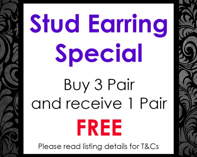 Featured listing image: Stud Earring Special - Buy 3 pairs and receive 1 pair FREE (Please see listing details for T&Cs)